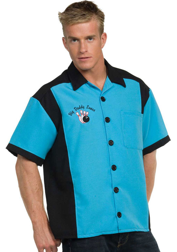 Men S Teal Bowling Shirt The Costume Shop