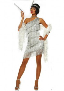 silver fringed flapper