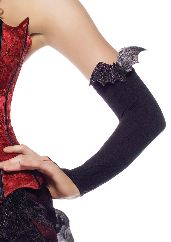 Nylon fingerless gloves with glitter bat applique.