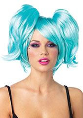 Turquoise Rave Wig with detachable ponytails