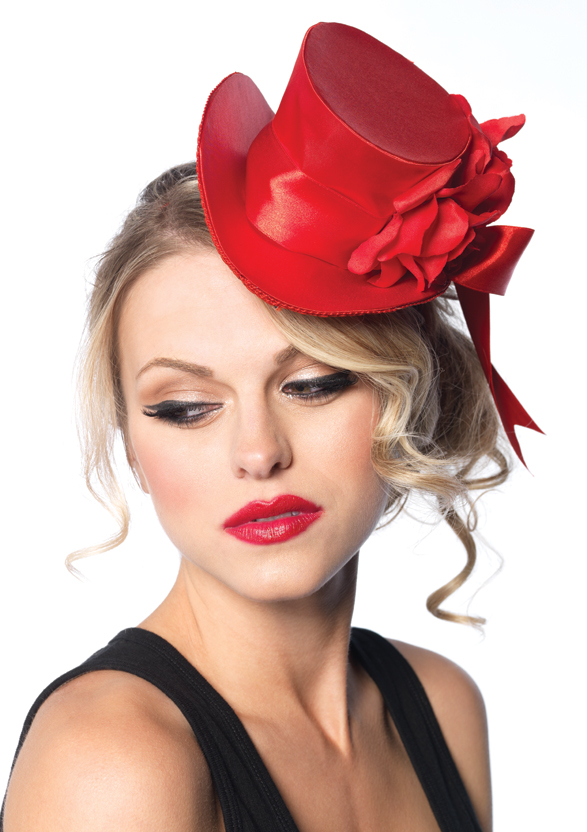 Satin top hat with flower and bow accent.