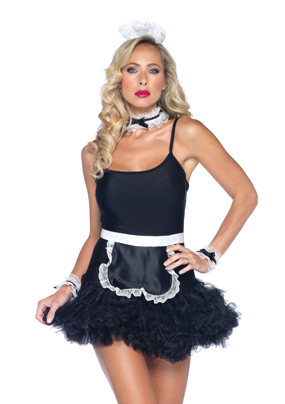 4 PC. French Maid Kit, includes lace trimmed apron, neck piece, wrist cuffs, and matching headband