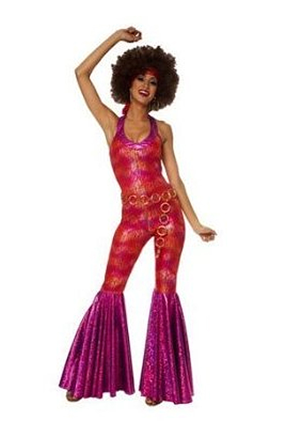 70's metallic jumpsuit with goldtone ring belt, and an afro