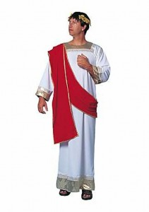 White toga with red drape and gold trim