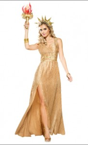 Golden Liberty costume comes with the gown and headpiece