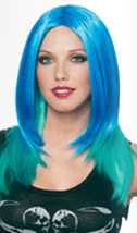 Blue-turquoise ombre wig, center part